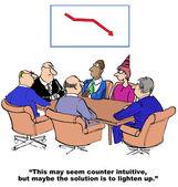 Cartoon of business declining sales — Stock Vector