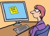 Cartoon of businesswoman receiving compliment from boss. — Stock Vector