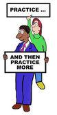 Cartoon of business people Being ptactice — Stock Vector