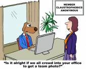 It is alright if we all crowd into your office — Vetor de Stock
