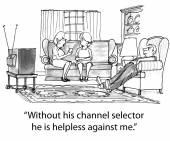 Girlfriends talking when a man watching TV — Stock Vector