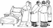 Patient overhears consultation of doctors — Stock Vector