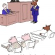 Expert witness testifies about three pigs and wolf — Stock Vector #70282013