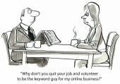 Άνδρας και γυναίκα είναι για διάλειμμα για καφέ στην εργασία. — Διανυσματικό Αρχείο