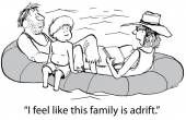 Family tries to stay passive while adrift — Stock Vector