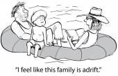 Οικογένεια προσπαθεί να μείνετε παθητική ενώ ακαθοδήγητα — Διανυσματικό Αρχείο
