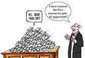 Interactive paperwork, cartoon — Stock Vector