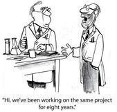 Scientist meets scientist who has worked on project — Stock Vector