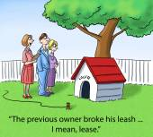 Dog broke leash or lease — Stock Vector