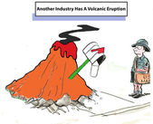 Another industry has a volcanic eruption — Stock Vector