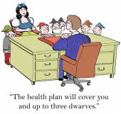 Health plan will cover some dwarves — Stock Vector