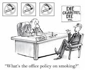 Office policy for smoking executive. — Stok Vektör