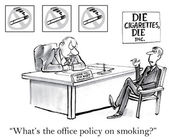 Office policy for smoking executive. — Cтоковый вектор