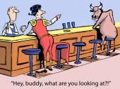 Matador does not like bull's looks — Stock Vector