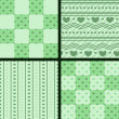 Set of patterns with green hearts — Stock Vector #69783707
