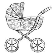 Black baby carriage — Stock Vector