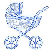Boy baby carriage — Stock Vector