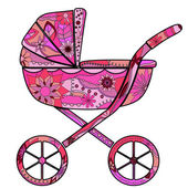 Girl baby carriage — Stock Vector
