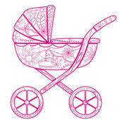 Baby carriage for girl — Stock Vector