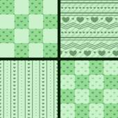 Set of patterns with green hearts — Stock Vector