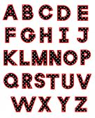 Polka dot alphabet — Stock Vector