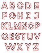 White polka dot alphabet — Stock Vector