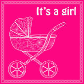 Its a girl card with baby carriage — Stock Vector