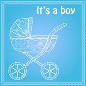 Its a boy card with baby carriage — Stock Vector
