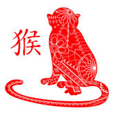 Red monkey with chinese hieroglyph — Stock Vector