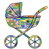 Colorful baby carriage — Stock Vector