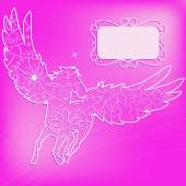 Pink background with pegasus — Stock Vector