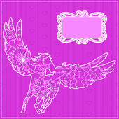 Pink backdrop with pegasus — Stock Vector