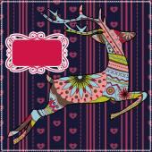 Deer christmas background — Stock Vector