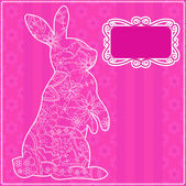 Pink background with rabbit — Stock Vector