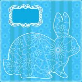 Blue background with rabbit — Stock Vector