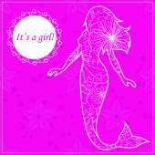 Its a girl card with mermaid — Stock Vector
