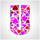 Alfabeto de corações — Vetor de Stock
