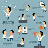 Successful businessman habits — Stock Vector