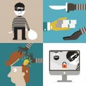 Thief and hacker — Vector de stock