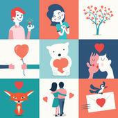 Cute love set — Stockvektor