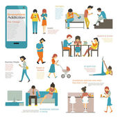 Smart phone addiction — Stockvektor