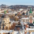 Lviv in winter. Beautiful morning panorama — Stock Photo #63128131