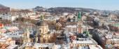 Lviv in winter. Beautiful morning panorama — Stock Photo