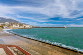 Waterfront views of Yalta in the winter sunny day — Stok fotoğraf