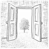 открытые двери — Cтоковый вектор