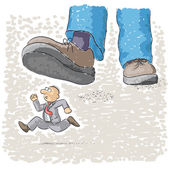 Foot tramples man — Stock Vector