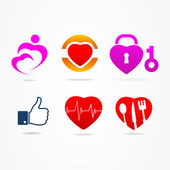 Heart icons like buttons for website — Vettoriale Stock