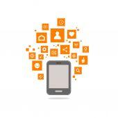 Tablet social icons web vector — Stock Vector