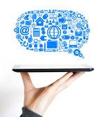 Business cloud communications Internet data icon — Foto de Stock