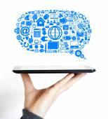 Business cloud communications Internet data icon — Стоковое фото